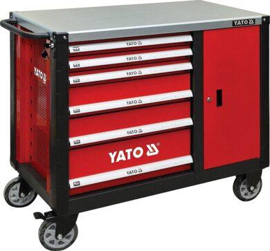 YATO YT-09002 Skříňka dílenská pojízdná 6 zásuvek +zavírací skříň červená(7913361)