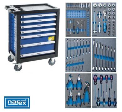 NAREX 443000994 Montážní skříň pojízdná (7 zásuvek) s nářadím 117ks (6modulů)(7915043)
