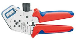 Kleště lisovací čtyřhroté DiGi KNIPEX 97 52 63 DG-Poniklováno, S dvoubarevnými vícesložkovými návleky rukojetí, Digitální zobrazení nastavených rozměrů lemování
