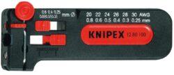 Kleště miniodizolovací KNIPEX 12 80 100 SB-Miniodizolovač pro tenké měděné vodiče Ø 0,25 do 0,8 mm