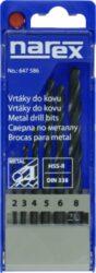 NAREX 00647586 Sada vrtáků HSS 6dílná-Sada obsahuje vrtáky o průměru 2, 3, 4, 5, 6, 8 mm