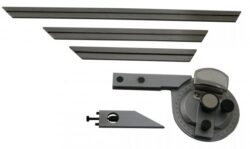 KMITEX 1093 Úhloměr s lupou 0-360° SET ČSN251624-Úhloměr s lupou a čtyřmi pravítky