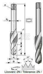 Závitník HSS kombinovaný s vrtákem M4 PN 8/1371 BUČOVICE 133040-Kombinovaný závitník