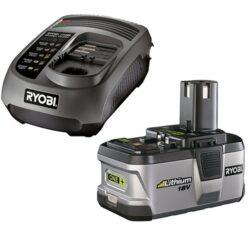 RYOBI BLK1820 Akumulátor 18V 2,4Ah Li + nabíječka UNI ONE+-Startovací sada s nejvýkonnější lithium iontovou baterií.