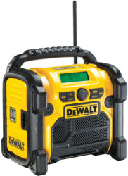 DEWALT DCR020-QW Aku přenosné rádio 10,8-18V USB, DAB (bez akumulátoru)-Stavební rádio, 220 V nebo XR baterií 10,8 V, 14,4 V a 18 V bez aku