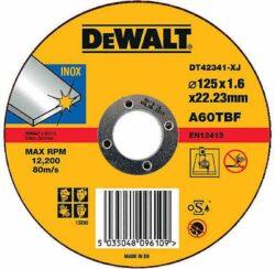 DEWALT DT42341 Kotouč řezný 125x1,6mm-Řezný kotouč na nerez, plochý 125 x 1,6 mm