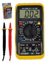 SOLIGHT V16 Multimetr a tester digitální-Multimetr, test diody, test baterie, ochrana proti přetížení, bzučák.